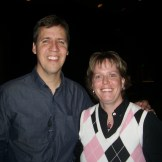 Author Jeff Kinney with Angie Christensen, Library Media Educational Technology Specialist at Kennedy Jr. High