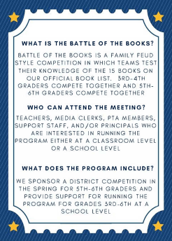 2017-2018 Battle of the Books Informational Meeting - 2
