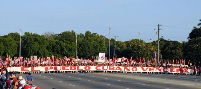 Desfile en La Habana por el Primero de Mayo
