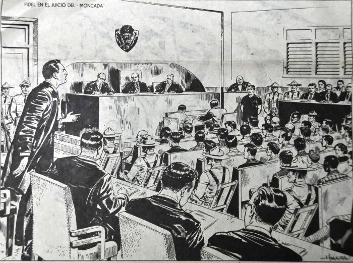 Dibujo sobre el comienzo del juicio del Moncada (pues fueron prohibidas las fotos) Fidel, como abogado exigió,  el 21 de septiembre de 1953, el derecho de asumir su propia defensa. Fue retirado luego,  en la tercera sesión del juicio, celebrada en la sala del Pleno del edificio de la audiencia. Su alegato de autodefensa, conocido como La Historia me Absolverá  –palabras con las que concluyó su discurso–  fue pronunciado el 16 de octubre del propio año, en una sala de justicia improvisada en una pequeña habitación del Hospital de Santiago, utilizado como cuarto de estudio de las enfermeras.