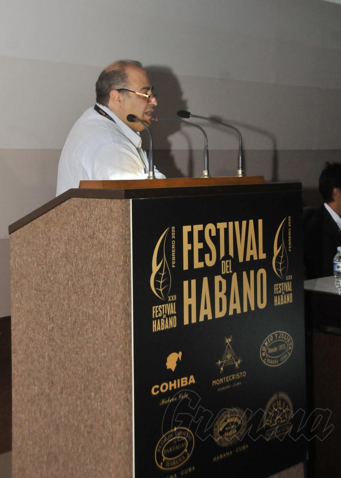XXII Festival del Habano,conferencia de presa por Leopoldo Cintra vicepresidente comercial de Habanos.