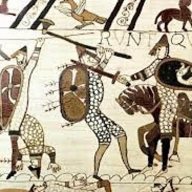 painting of man swinging axe