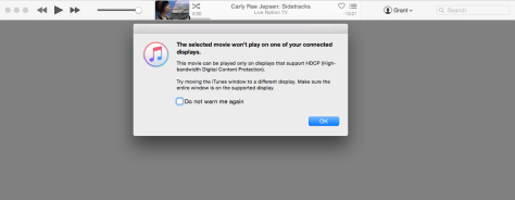 iTunes HDCP error message