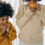 Children eating nutritious food.