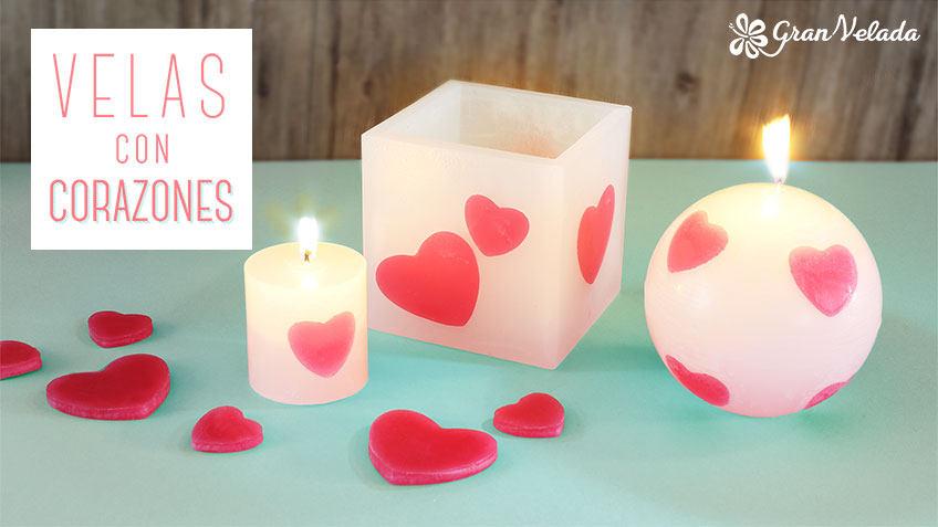 Velas con corazones de 3 formas diferentes hechas en casa - Cena romantica con velas ...