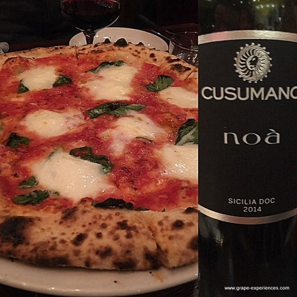 Pizza and Cusumano wines