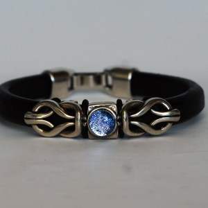 Leather Bracelet with Dichroic Glass and Sterling Celtic  Knots