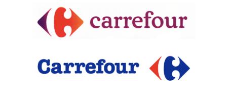 nouveau et ancien logo carrefour