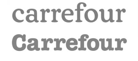 nouvelle et ancienne typographie carrefour