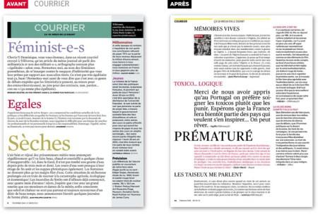 Exemple de mise en page de magazine telerama rubrique courrier des lecteurs