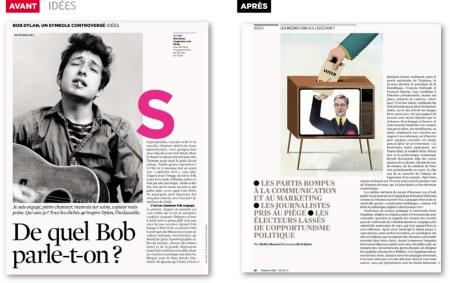 Mise en page magazine telerama rubrique idées visuelles