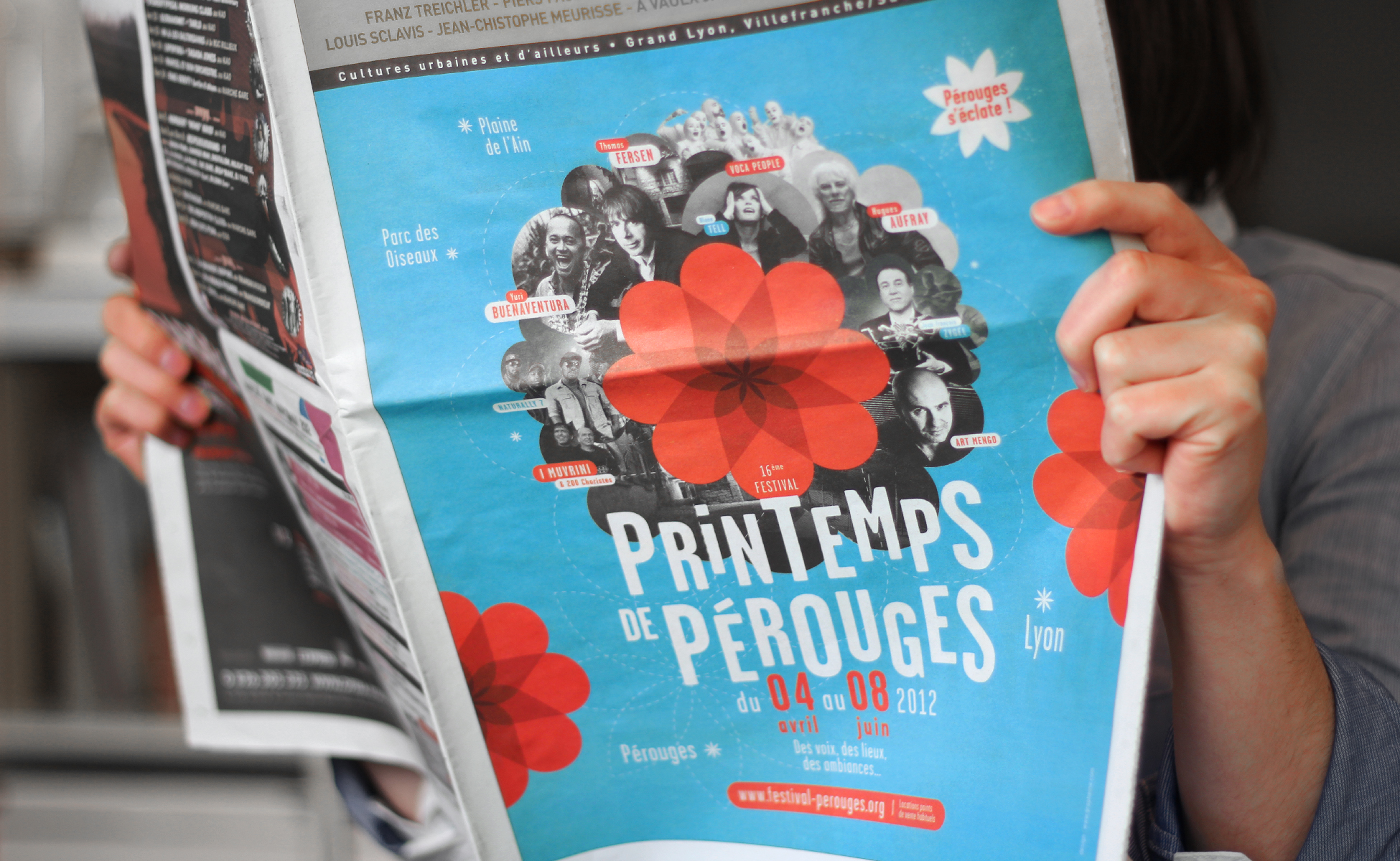 Graphisme du journal du festival du printemps de Pérouges Lyon