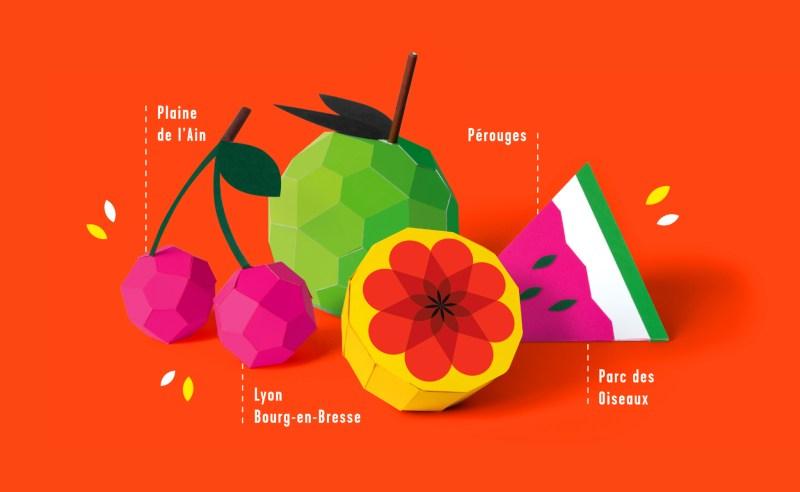 Communication Festival musique Printemps de Pérouges - fruit en paper art