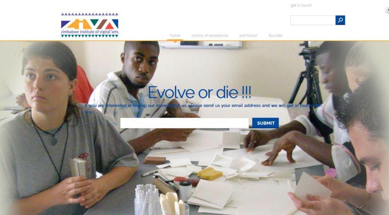 Page d'accueil du site de l'école ZIVA fondée par Saki Mafundikwa