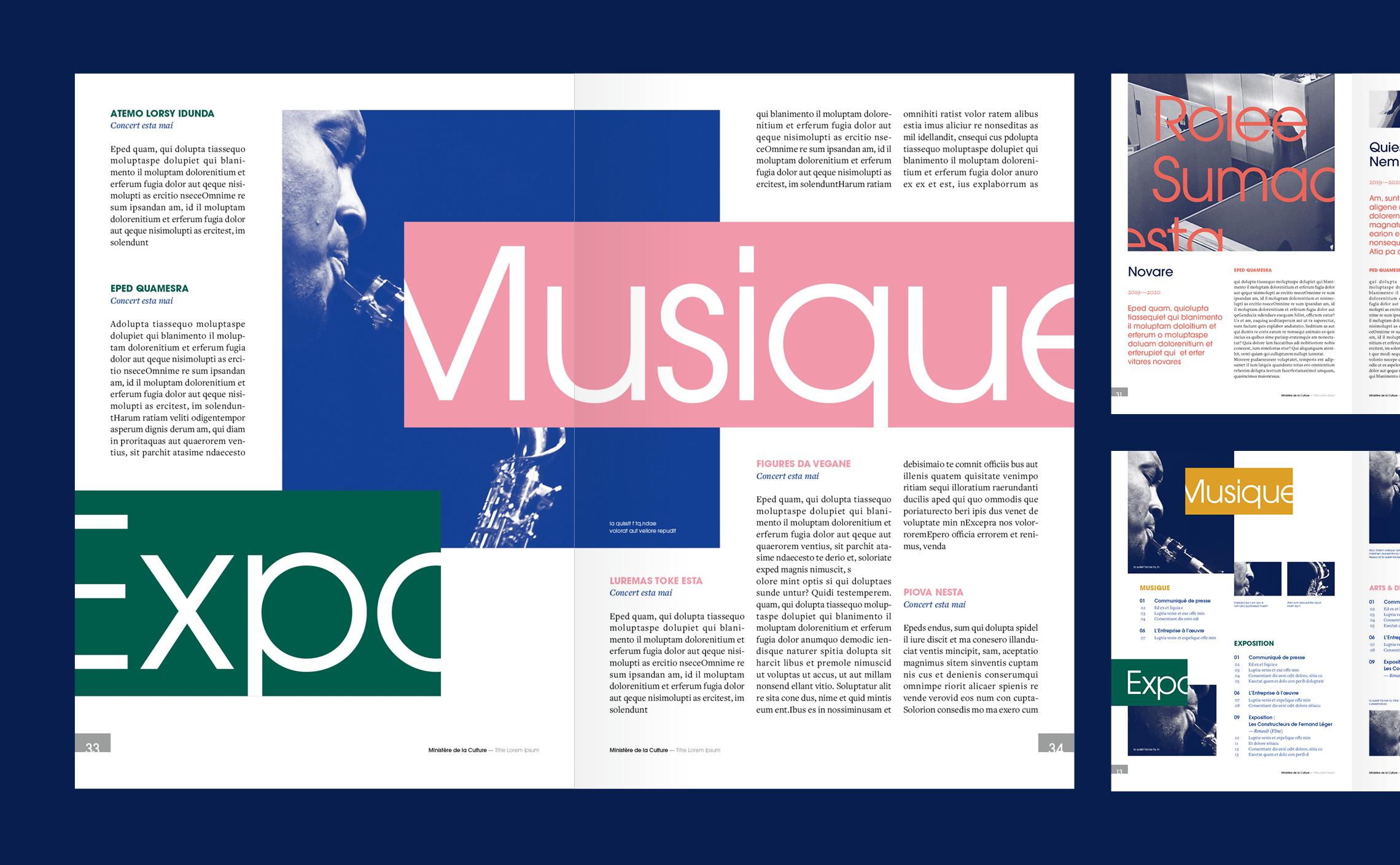 mise en page magazine ministère Culture double page