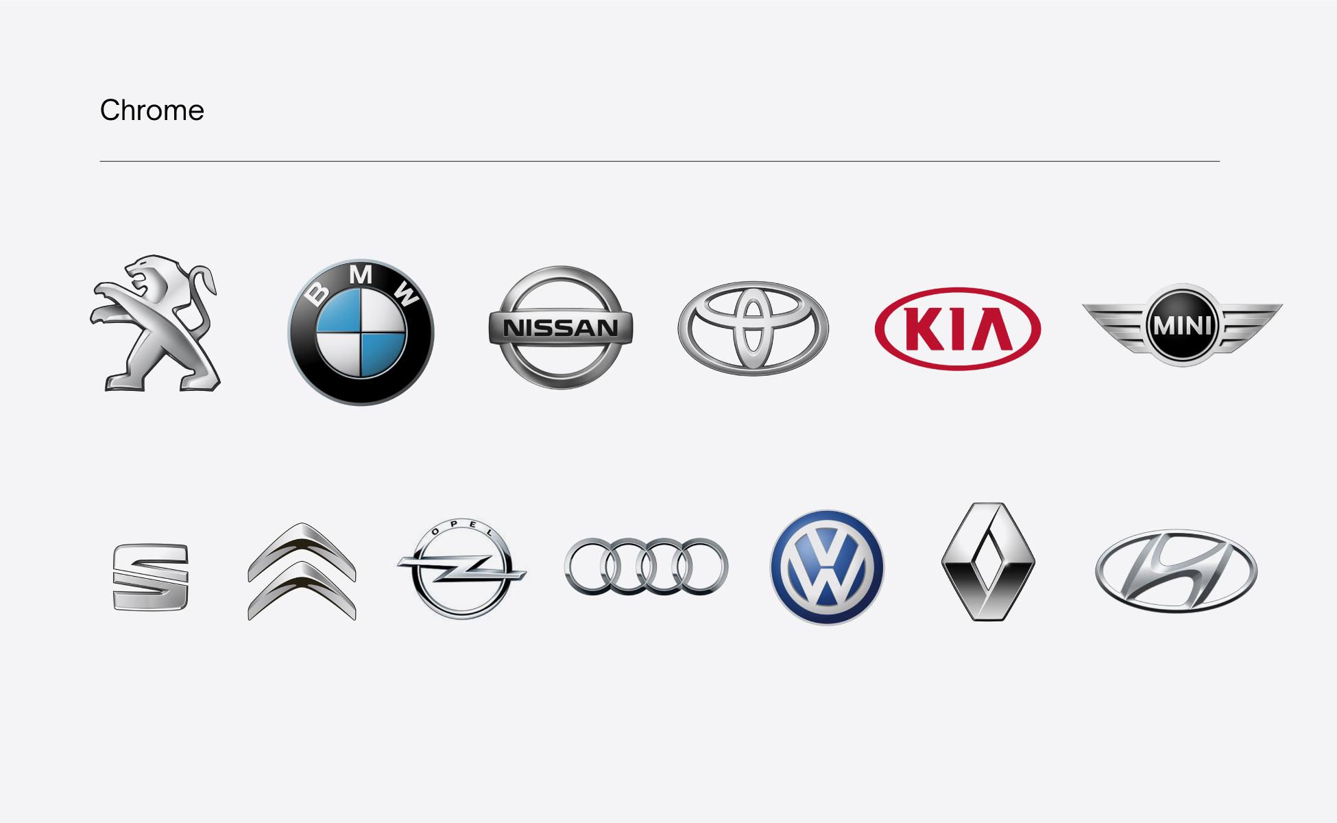 Logos automobiles chromés