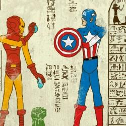 Super-héros-glyphes art égyptien geek
