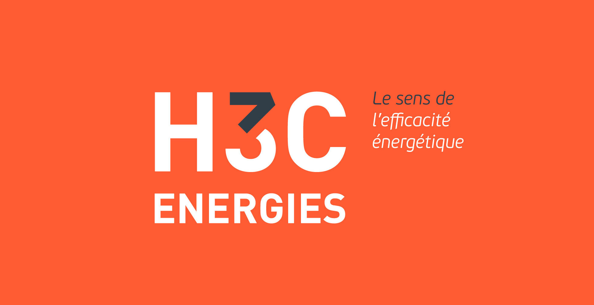 création de logo économie energie H3C logo orange flèches