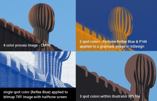4 color process CMYK and spot color images