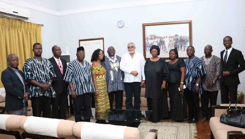 President Rawlings in a pose with the delegation. Next to the former President is the widow Mrs Asore