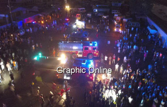 A drone photo of the Odorna Market on fire Wednesday, January 16 as captured by Douglas Anane Frimpong, Photo Editor at GCGL