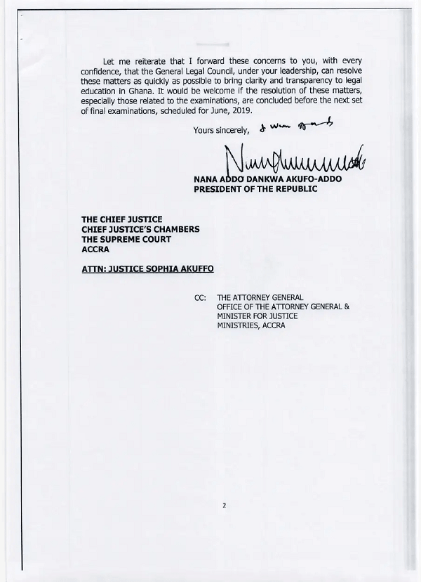 Document: Akuffo Addo's 6 Legal Reform Suggestions he gave to Chief Justice in May 2019 2