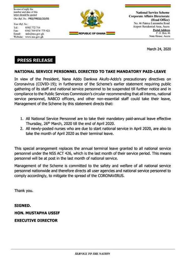 COVID-19: All National Service Personnel directed to take mandatory paid leave 1