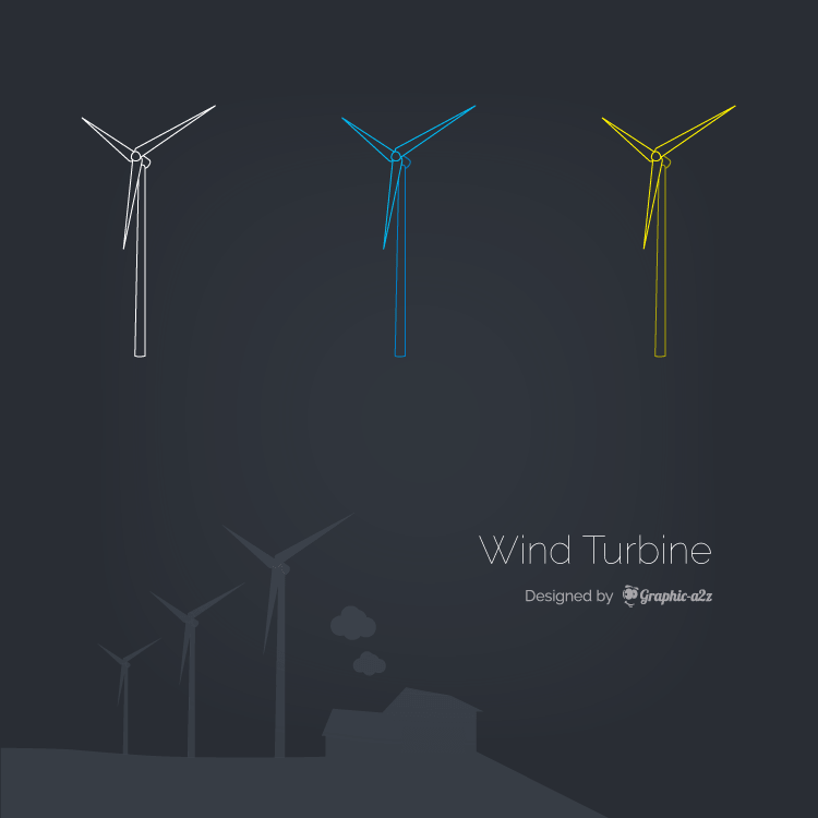 Wind turbine lineal color vector design