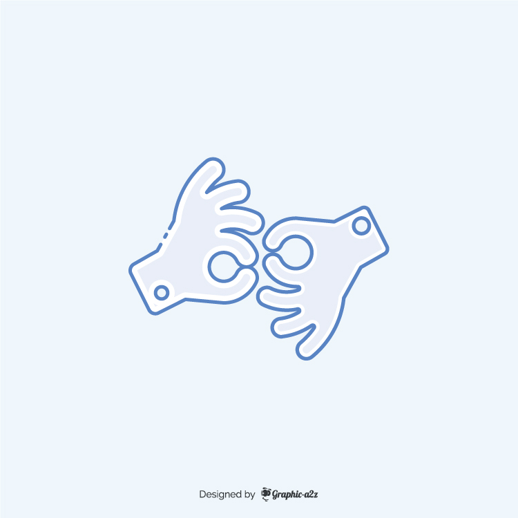 American sign language interpreting icon blue