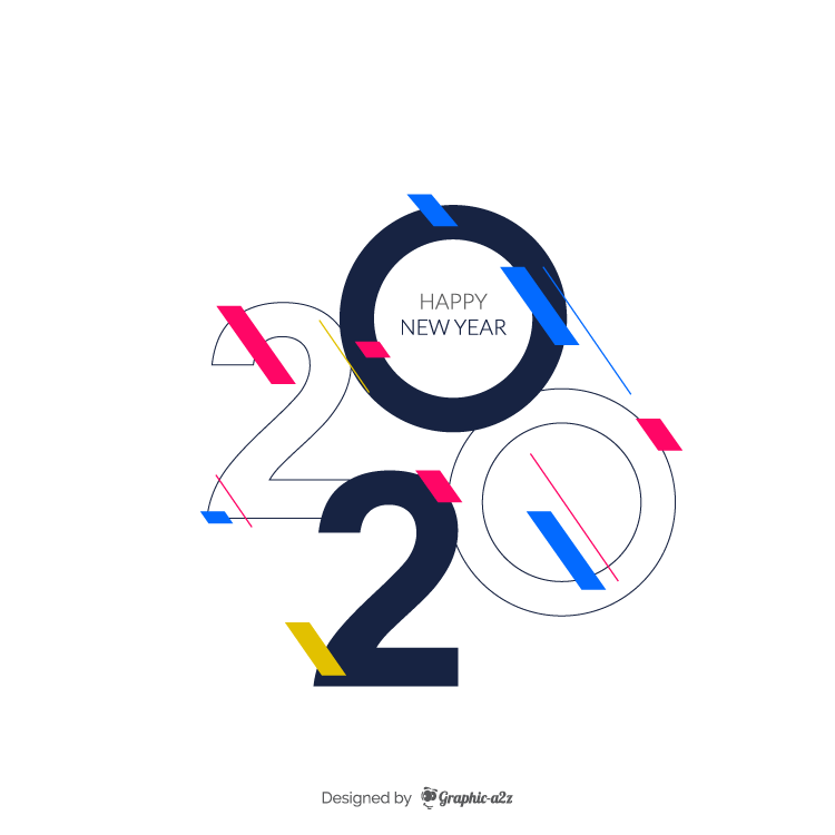 Happy new year 2020 design on Graphica2z