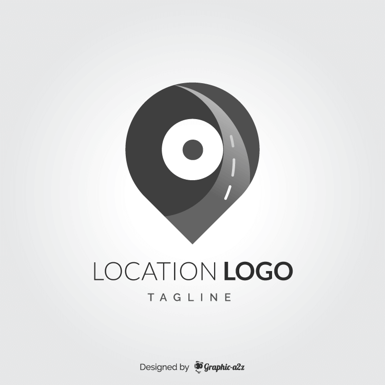 Location logo gray color free vector on graphic-a2z