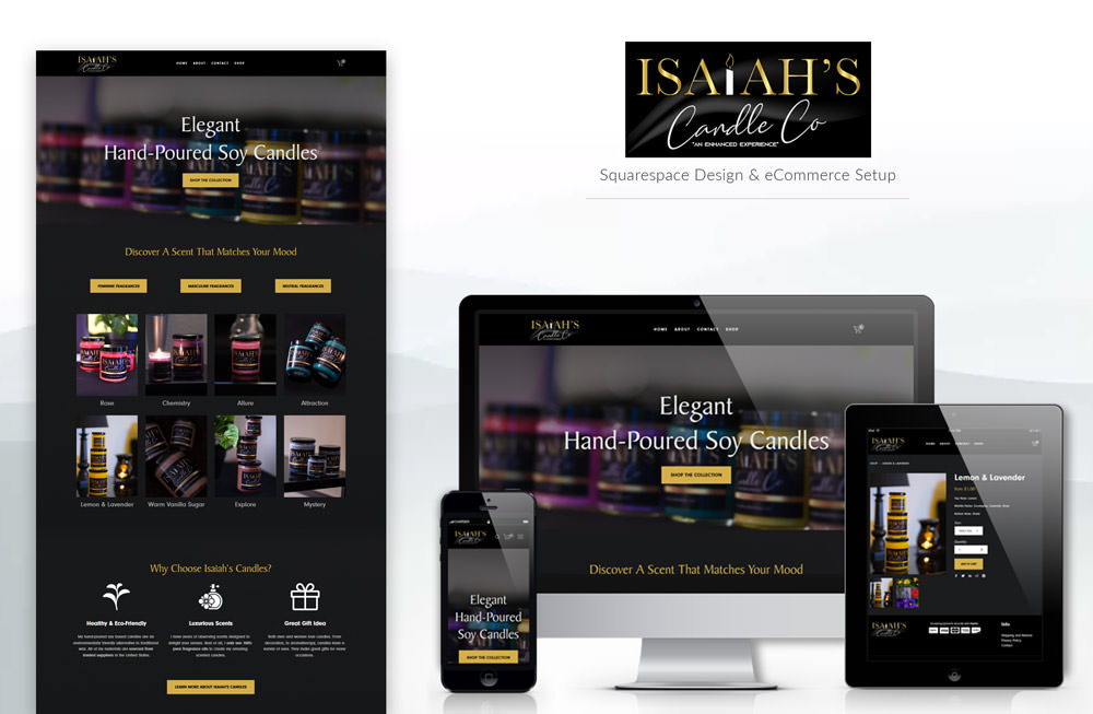 Isaiah's Candle Company website design