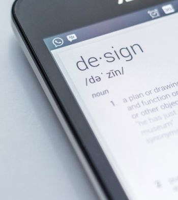 Phone screen with the definition of design