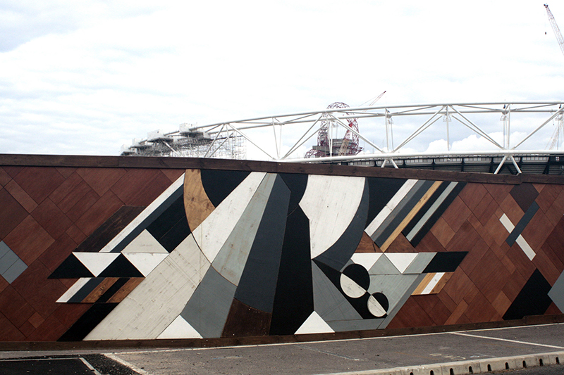 Wooden mosaic at the Queen Elizabeth Olympic Park by Mark McClure