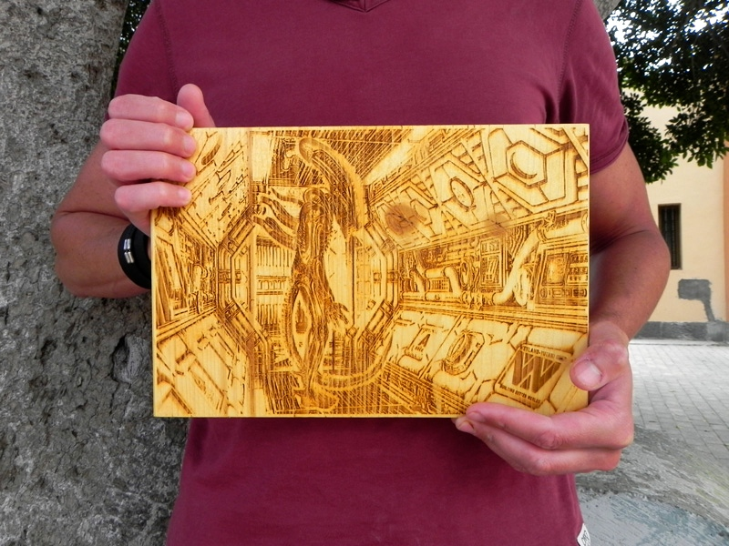 """Alien Corridor"" by Laser Art Canarias, laser engraved on pine wood, 11,8"" x 7,8 """