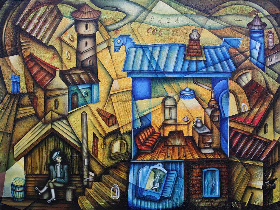 eugene-Ivanov-Oil-painting-10.00_Blue-House-in-suburb
