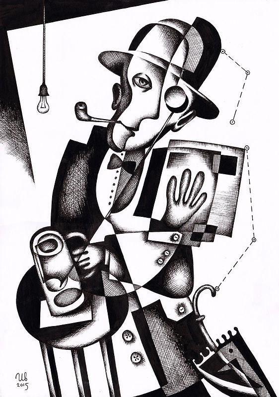 eugene-Ivanov_Ink-drawings-04.00_Man-with-a-newspaper_Lot-2559.00