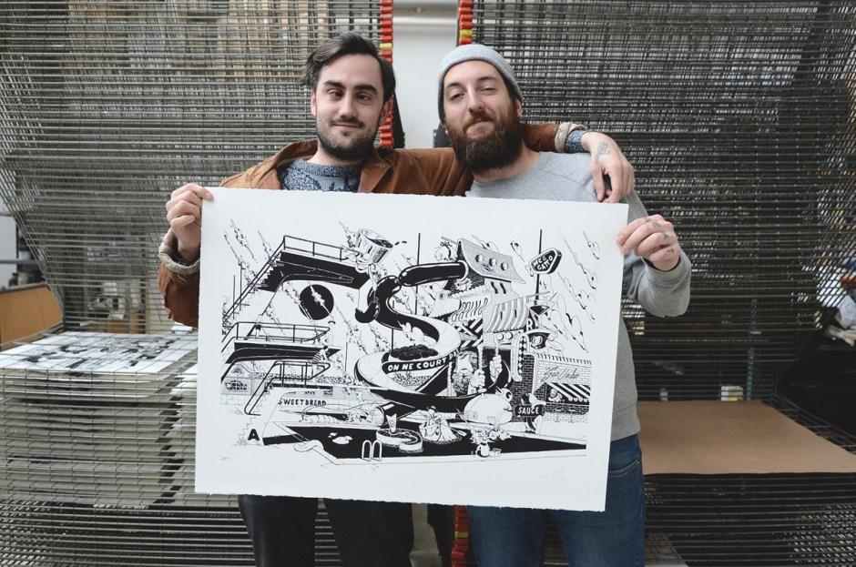 ugo-gattoni-mcbess-sweetbread-lithography-oeuvre-illustration-fine-art-print-collaboration-edition-soldart-55-friend-artists-artwork-collab