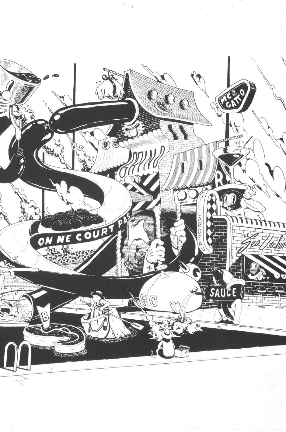 ugo-gattoni-mcbess-sweetbread-lithography-oeuvre-illustration-fine-art-print-collaboration-edition-soldart-61-detail-piscine-bouffe-architecture-design