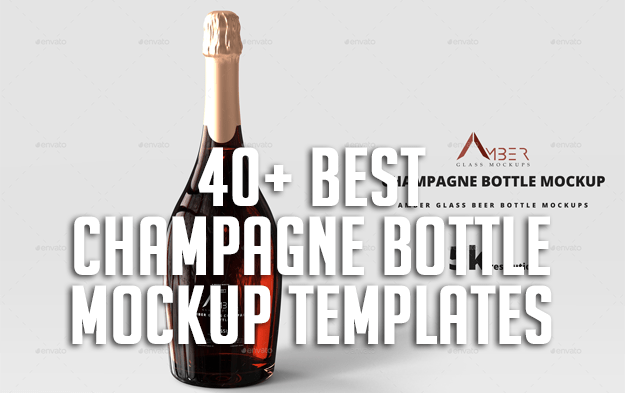 40+ Best Champagne Bottle Mockup Templates