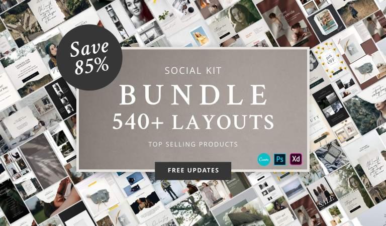 Social Kit BUNDLE 540+ Layouts 85% Off
