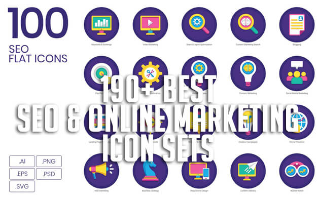 190+ Best SEO & Online Marketing Icon Sets