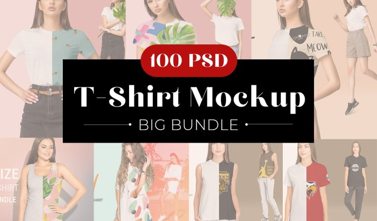 100 Female T-Shirt Mockup Bundle