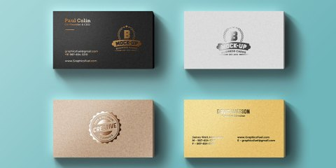 Graphic Ghost - Foil Business Cards Mockup