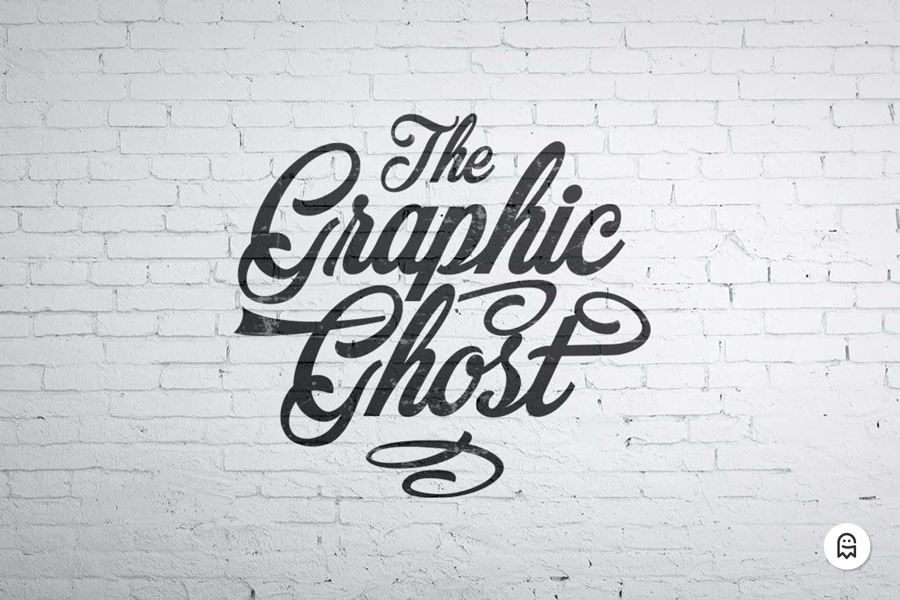 Free wall mockup graphic ghost