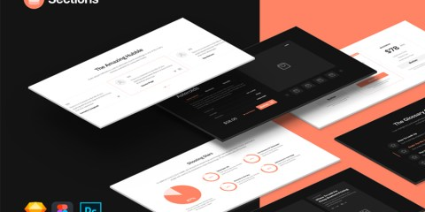 Graphic Ghost - Sections - Free Landing Page Wireframe Kit