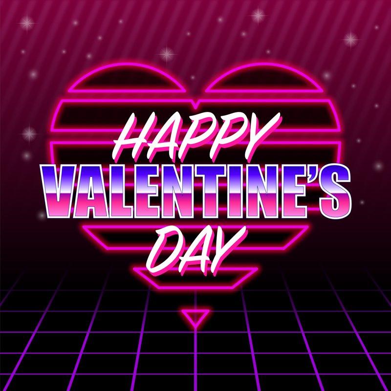 Download 80's Style Valentine's Neon Heart Design Free Vector File
