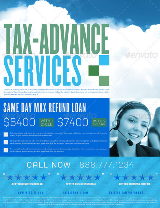 Tax Advance Flyer and Business Card Template