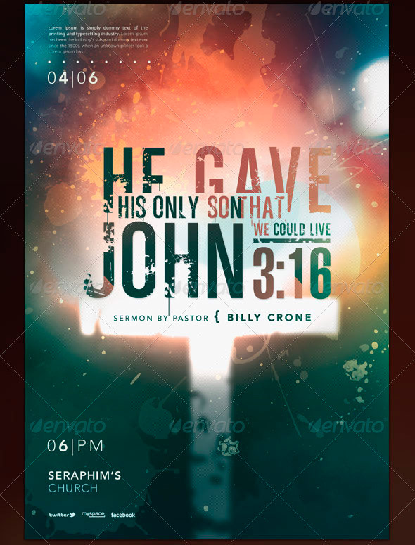 John 3:16 Typography Flyer and CD Template