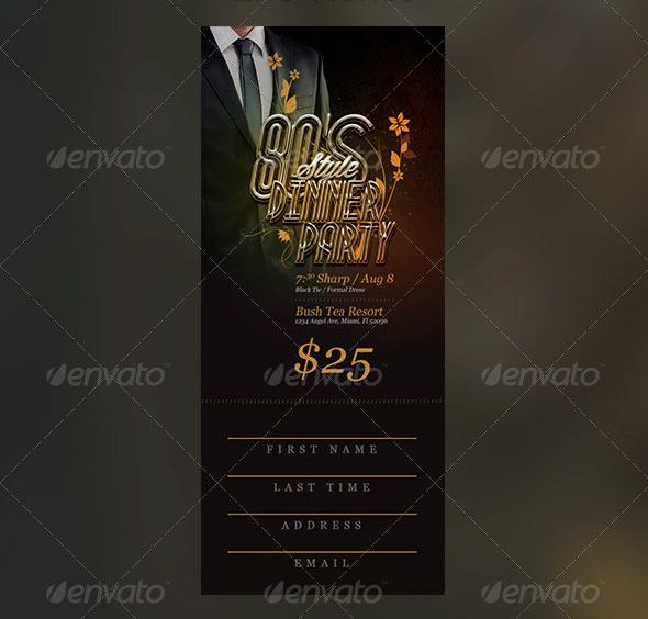 80's Dinner Party Flyer and Ticket Template